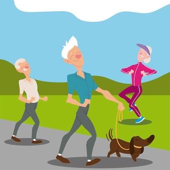 Anziani attivi, uomini anziani che camminano con il cane e l'illustrazione del personaggio da jogging della donna anziana