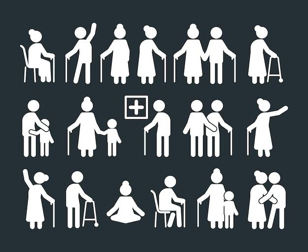 Pittogramma di anziani. le persone anziane in piedi in varie pose vecchi genitori assicurazione umani simboli vettoriali. illustrazione generazione di nonni, silhouette di personaggi anziani, genitori in pensione