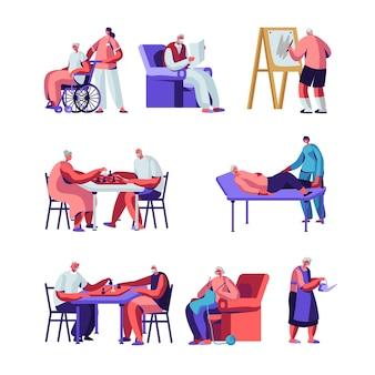 Set di anziani, personaggi maschili e femminili in casa di cura hobby coinvolgente cura delle piante, pittura, gioco a scacchi, lavoro a maglia.