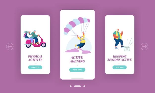 Set schermo a bordo pagina per app sparetime per anziani per dispositivi mobili