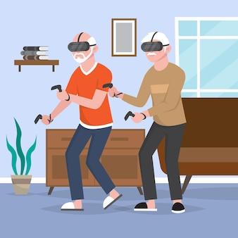 Anziani che utilizzano la tecnologia disegnata a mano piatta s