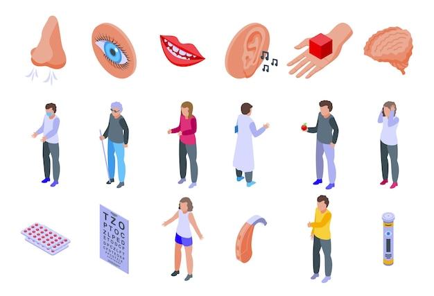 Sensi set di icone. set isometrico di icone dei sensi per il web design isolato su sfondo bianco