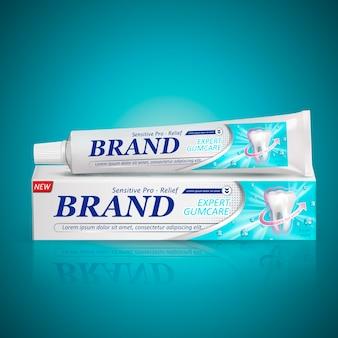 Pacchetto di dentifricio sollievo sensibile isolato sfondo turchese