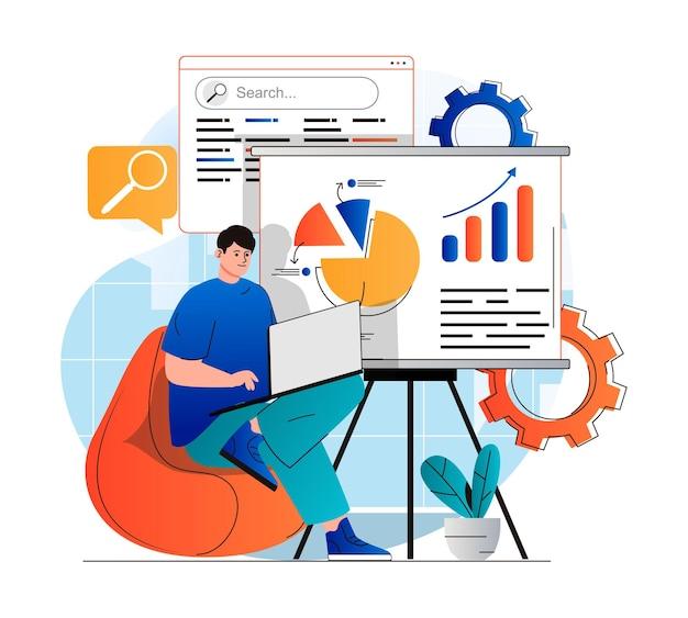 Concetto di analisi seo in un moderno design piatto l'uomo analizza i risultati della ricerca funziona con i dati e la creazione