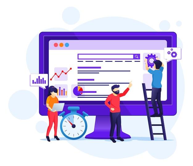 Concetto di analisi seo con persone che lavorano sullo schermo. ottimizzazione dei motori di ricerca, marketing e illustrazione delle strategie