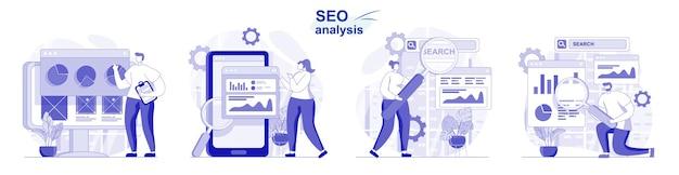 Set isolato di analisi seo in design piatto le persone che analizzano l'ottimizzazione dei dati del sito sviluppano una strategia