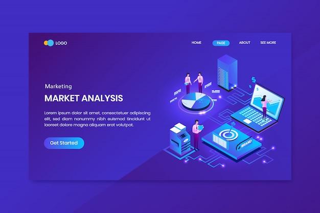 Pagina di destinazione del concetto isometrico di seo analysis