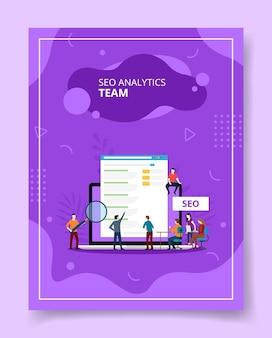 Seo analytics team persone in piedi seduto sul laptop, poster.