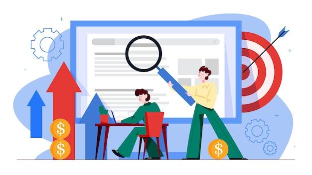 Concetto di seo. idea di ottimizzazione dei motori di ricerca per il sito web come strategia di marketing. le persone fanno promozione di pagine web su internet. illustrazione in stile cartone animato