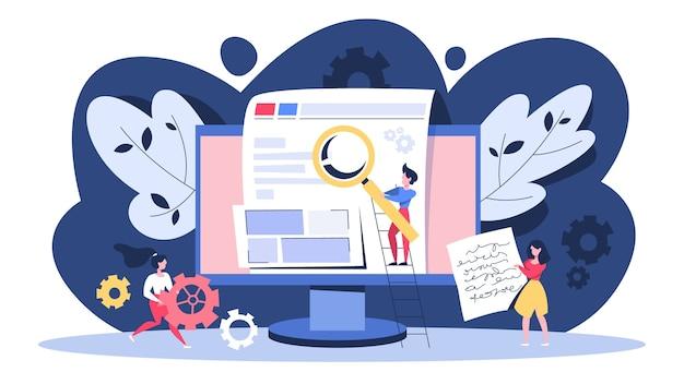 Concetto di seo. idea di ottimizzazione dei motori di ricerca per il sito web