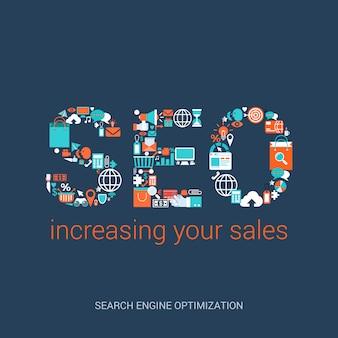 Concetto di seo che aumenta l'illustrazione piana di stile di vendite. abbreviazione di ottimizzazione dei motori di ricerca formata da una varietà di icone correlate.