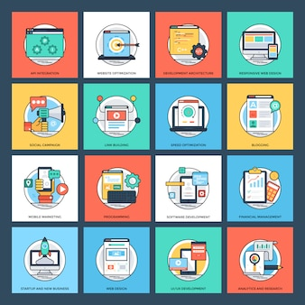 Set di icone piane di seo e sviluppo