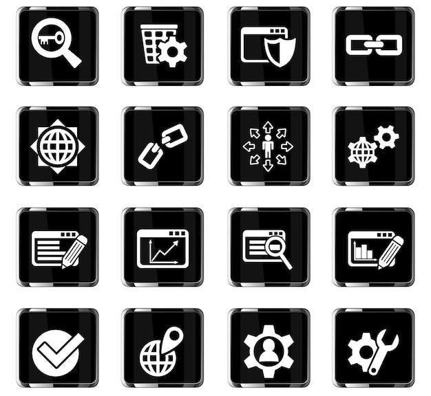 Icone web seo e sviluppo per la progettazione dell'interfaccia utente