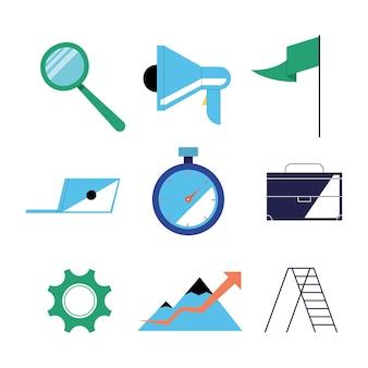 Seo icon collection design, digital marketing ecommerce e online theme illustration