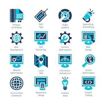 Set di icone di ottimizzazione seo e internet. illustrazione vettoriale isolato