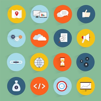 Le icone piane di vendita di seo hanno messo con l'illustrazione di vettore isolata codice pulito di profitto della comunità