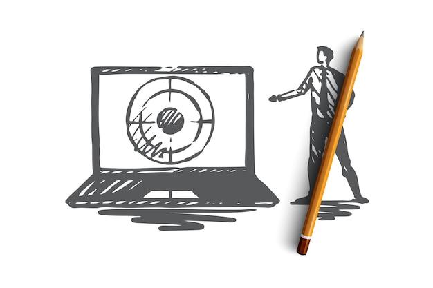 Seo, marketing, ottimizzazione, ricerca, concetto di media. gestore di seo disegnato a mano e laptop con schizzo di concetto di destinazione.