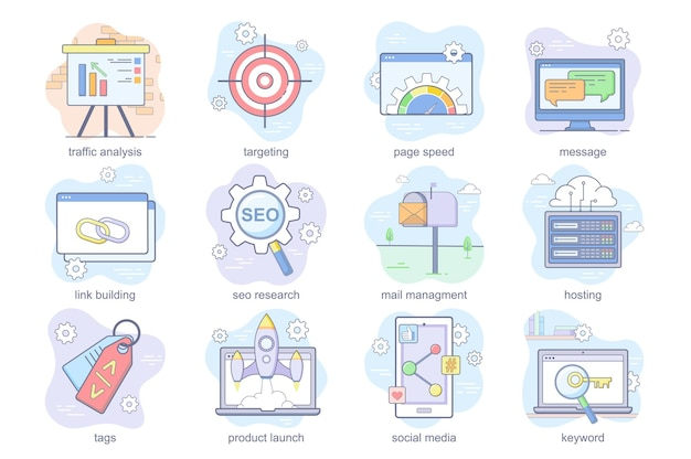 Le icone piatte del concetto di ottimizzazione seo impostano il pacchetto di analisi del traffico che mirano al collegamento del messaggio di velocità della pagina...