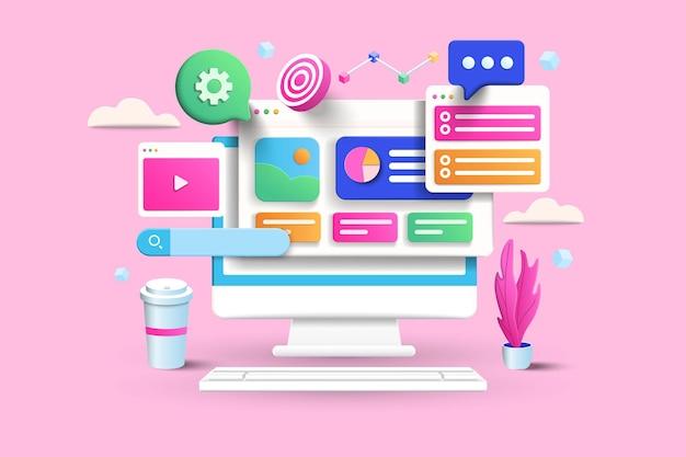 Illustrazione del concetto di ottimizzazione seo su sfondo rosa