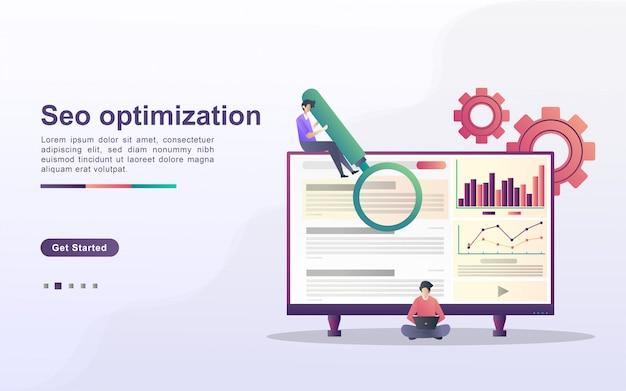 Concetto di ottimizzazione seo. azienda di marketing seo, ottimizzazione dei risultati seo, posizionamento seo. Vettore Premium