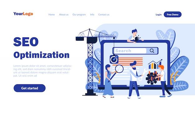 Pagina di destinazione piatta ottimizzazione seo con intestazione