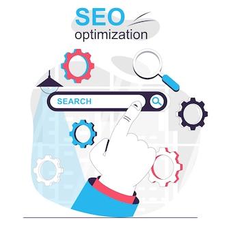 Concetto di fumetto isolato ottimizzazione seo impostazione della promozione del sito della strategia del motore di ricerca