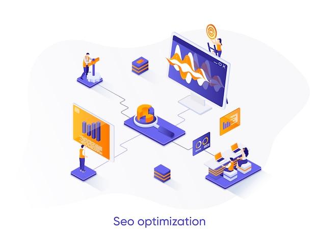 Banner web isometrico di ottimizzazione seo.