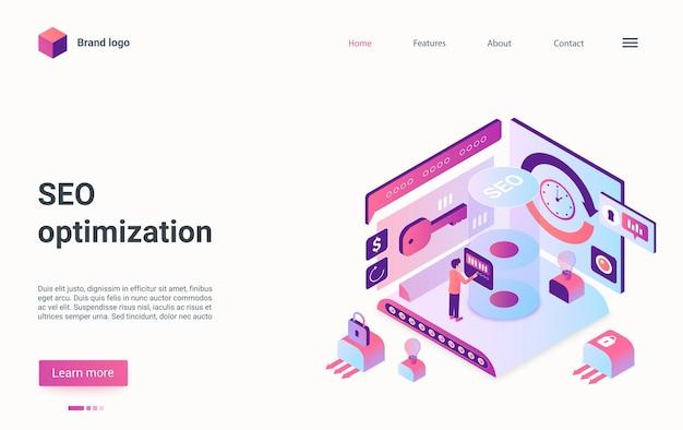 L'analista della pagina di destinazione isometrica della tecnologia di ottimizzazione seo gestisce il report dei dati aziendali Vettore Premium