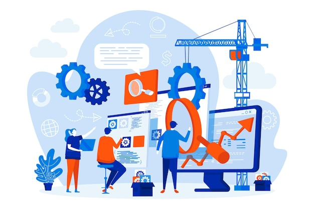 Web design di ottimizzazione seo con illustrazione di personaggi di persone