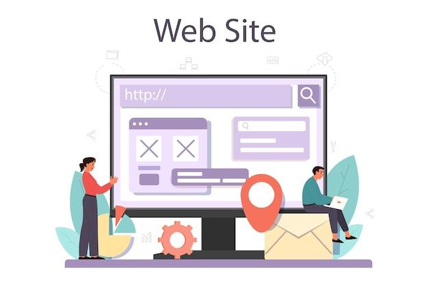 Servizio o piattaforma online di ottimizzazione seo. idea di ottimizzazione dei motori di ricerca per il sito web.
