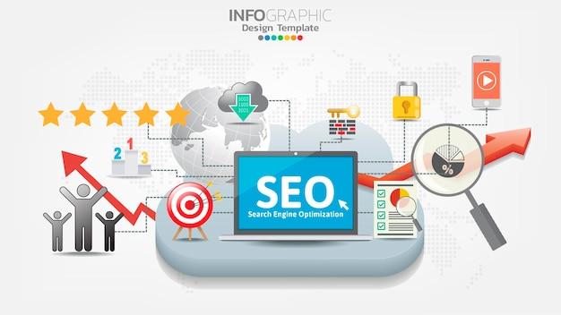 Icona web del banner di ottimizzazione dei motori di ricerca seo per il business e il marketing