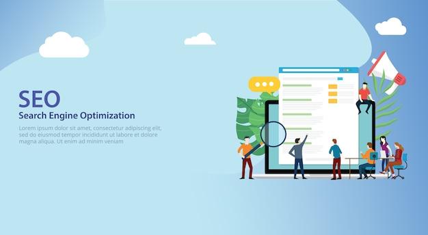 Squadra di seo search engine optimization che lavora insieme