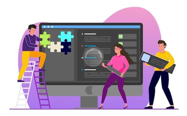 Ottimizzazione dei motori di ricerca seo per sito web, design illustrazione piatta