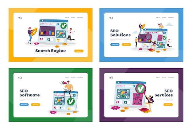 Soluzioni seo, set di modelli di pagina di destinazione per l'analisi dei dati aziendali