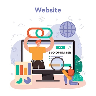 Servizio o piattaforma online specializzato in seo. sito web. illustrazione piatta vettoriale