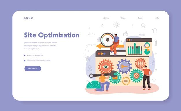 Banner web o pagina di destinazione specialista seo. idea del motore di ricerca