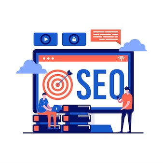 Concetto di tecnologia seo con carattere. sviluppo di strategie di pubblicità online. campagna di promozione aziendale su internet.