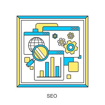 Processo di ottimizzazione dei motori di ricerca del sito web seo in stile linea sottile