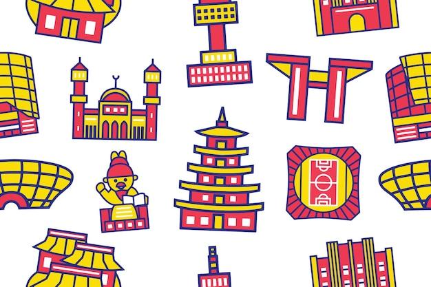 Seoul cit seamless pattern in stile design piatto