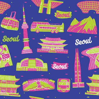 Modello senza cuciture della città di seoul con elementi di punti di riferimento