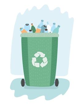 Separazione dei rifiuti su bidoni della spazzatura