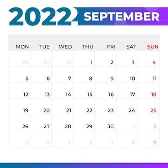 Calendario settembre 2022