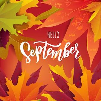 Testo di settembre con foglie autunnali luminose. concetto per la pubblicità