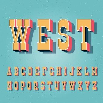 Carattere vintage in grassetto serif. lettere maiuscole latine luminose in stile retrò.