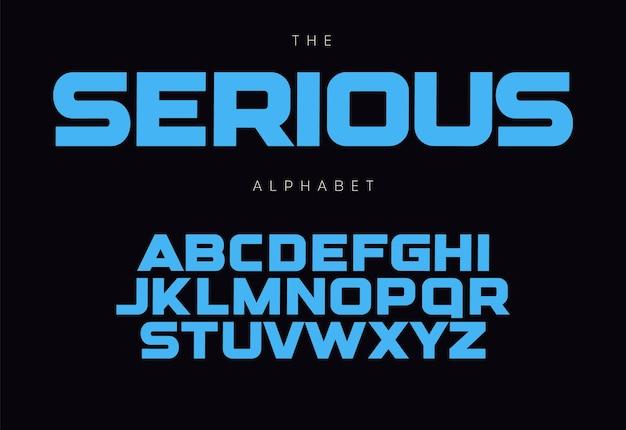 Concetto serio di alfabeto in grassetto per titolo, logo, monogramma, promo. lettere maiuscole geometriche. design tipografico moderno.
