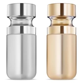 Flacone di siero, olio cosmetico dorato, liquido per la cura del viso fiala di prodotto per la cura della pelle del viso premium con contagocce contagocce in collagene dorato naturale