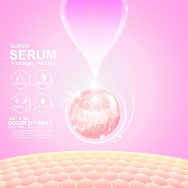 Siero o collagene rosa palla goccia e strato di riparazione della pelle