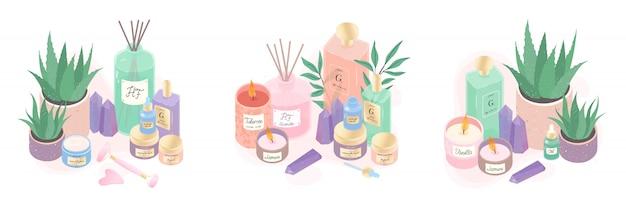Fascio di illustrazione di siero, creme, candele, olio, cristalli, diffusore e aloe