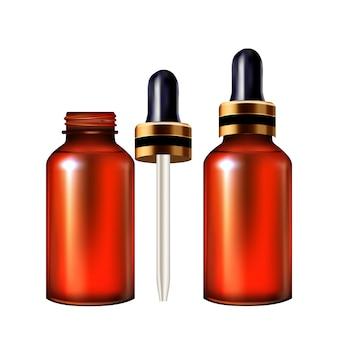 Contagocce di siero e bottiglia di vetro pipetta