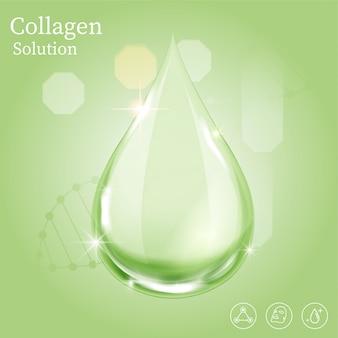 Goccia verde siero per il concetto di bellezza e cosmetica. Vettore Premium
